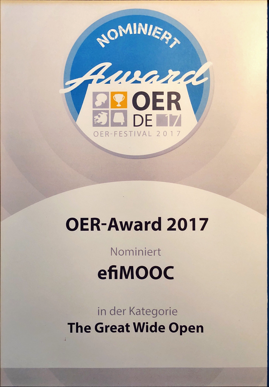 Die Urkunde zum OER-Award 2017
